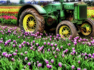Antique Tractors Photograph - Old And New by Bonnie Bruno