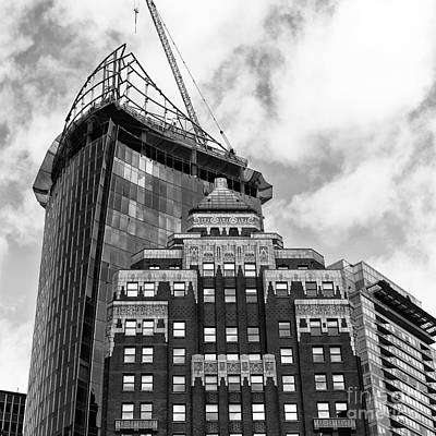 Photograph - Old And New In Vancouver Mono by John Rizzuto