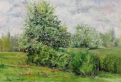 Hacunda Wall Art - Painting - Old Apple Blossoms by Robert James Hacunda