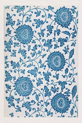Mixed Media - Old Asian Blue Floral Pattern Wall Art Prints  by Wall Art Prints