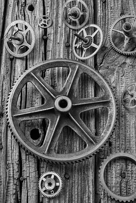 Knothole Photograph - Old Assorted Gears by Garry Gay