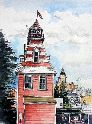 Art Print featuring the painting Old Auburn Firehouse by Terry Banderas