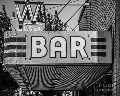 Photograph - Old Bar Sign Livingston Montana Black And White by Edward Fielding