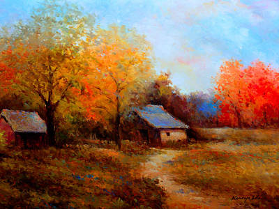 Painting - Old Barn - Luscious Fall Colors And Earth Tones by Kanayo Ede
