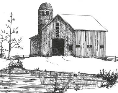 Drawing - Old Barn 1 by BJ Shine