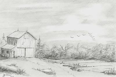 Old Shed Drawing - Old Barn 2 by BJ Shine