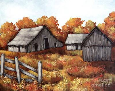 Painting - Old Barn And Autumn Fields by Inese Poga