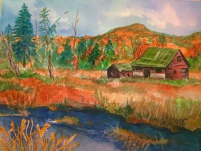 Painting - Old Barn And Catskill Mountains by Ellen Levinson