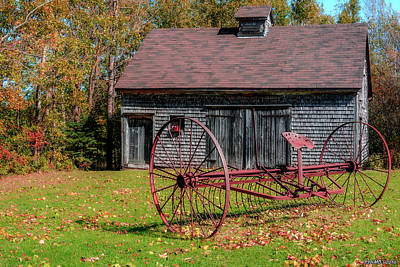 Old Barn And Rusty Farm Implement 02 Art Print by Ken Morris