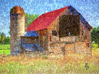 Digital Art - Old Barn And Silo Corn Kernel Mosaic by Ric Darrell