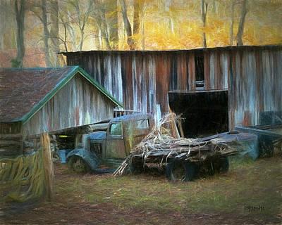 Old Barn And Truck At Elys Mill Gatlinburg Tn Art Print by Rebecca Korpita