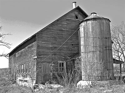 Art Print featuring the photograph Old Barn And Wood Stave Silo by Randy Rosenberger