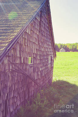 Photograph - Old Barn Andover New Hampshire Sun Flare by Edward Fielding