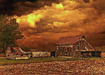 Digital Art - Old Barn At Sunset by PixBreak Art