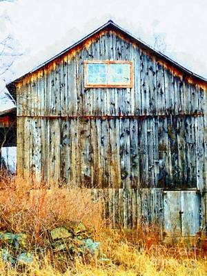 Old Barn - Cold November Day Art Print by Janine Riley
