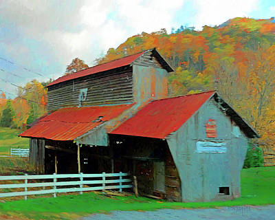 Digital Art - Old Barn In Autumn Wears Valley by Rebecca Korpita