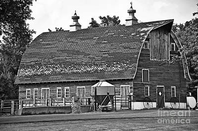 Photograph - Old Barn In Black And White by Kathy M Krause