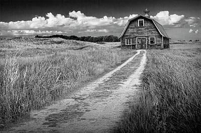 Photograph - Old Barn In Black And White by Randall Nyhof