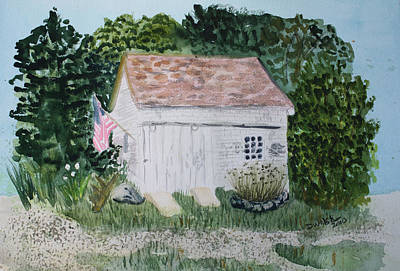 Art Print featuring the painting Old Barn In Eastham Ma by Donna Walsh