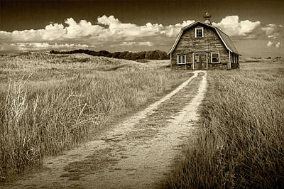 Photograph - Old Barn In Sepia Tone On A Farm Under Cloudy Skies by Randall Nyhof