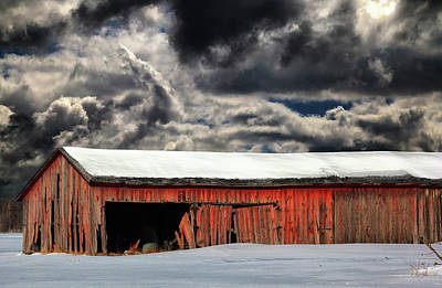 Photograph - Old Barn In Snow 10 by Mary Bedy