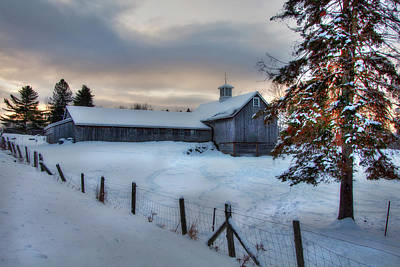 Old Barn In Snow At Sunrise Art Print