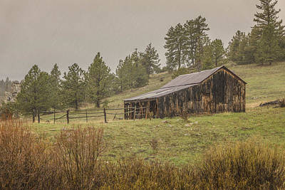 Photograph - Old Barn In The Rain 2 by Teresa Wilson