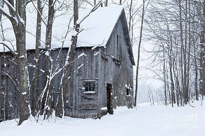 Photograph - Old Barn In Winter by Alan L Graham