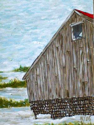 Old Barn In Winter Art Print by Norman F Jackson
