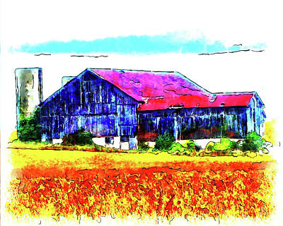 Digital Art - Autumn Corn Field Barn by Leslie Montgomery