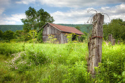 Print featuring the photograph Old Barn Near Stryker Rd. Rustic Landscape by Gary Heller
