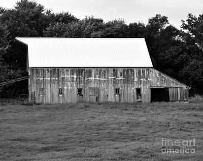 Photograph - Old Barn New Roof - Bw by Kathy M Krause