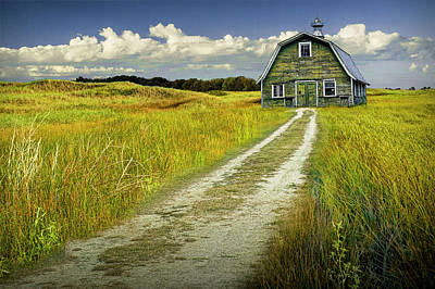 Photograph - Old Barn On A Farm Under Cloudy Blue Skies by Randall Nyhof