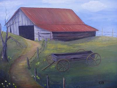 Old Farm Equipment Painting - Old Barn On Hill by Glenda Barrett