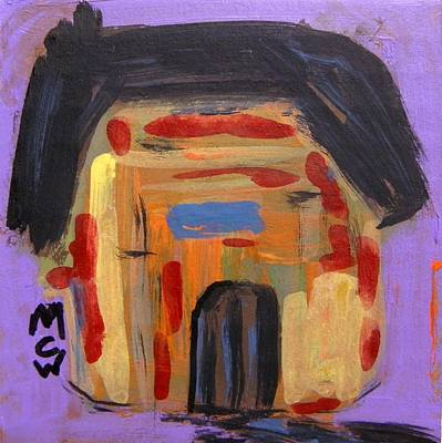 Blue Barn Doors Drawing - Old Barn On Purple by Mary Carol Williams