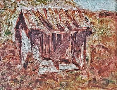 Painting - Old Barn Outhouse Falling Apart In Decay And Dilapidation Rotting Wood Overgrown Mountain Valley Sce by MendyZ