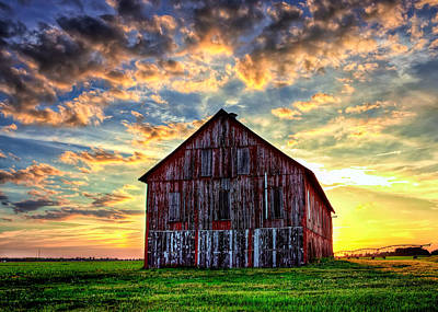 Sunset Photograph - Old Barn by Randall Wilkerson