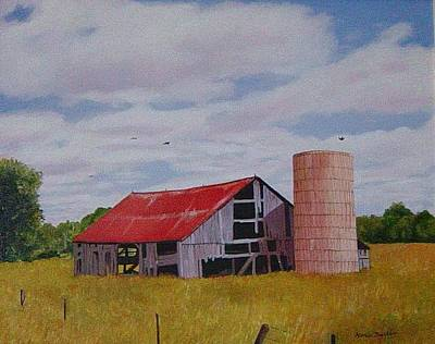 Old Barn Red Roof Print by Marie Dunkley