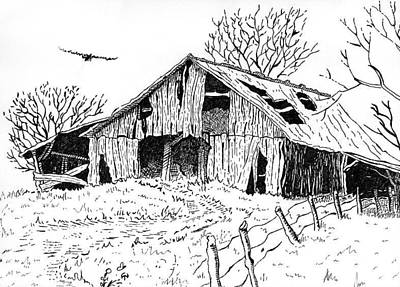 Old Barn Drawing - Old Barn by Shania Brown