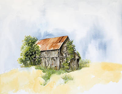 Country Setting Painting - Old Barn by Virginia McLaren