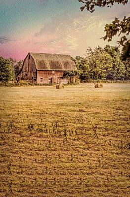 Digital Art - Old Barn With Round Hay Bales by Rusty R Smith