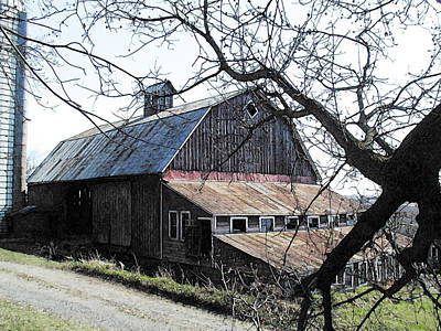 Old Barn With Tree Watercolor Art Print by Laurie With