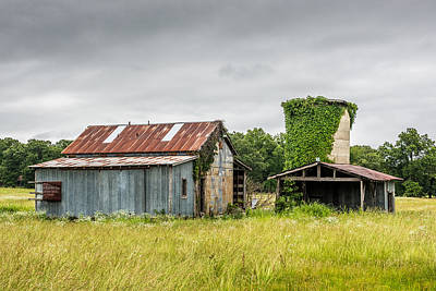 Old Barn With Vine Covered Silo Art Print