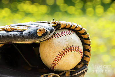 Photograph - Old Baseball And Glove by Gary Silverstein
