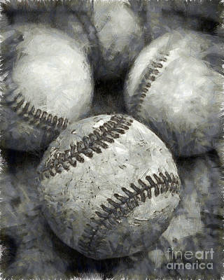 Old Baseballs Pencil Print by Edward Fielding