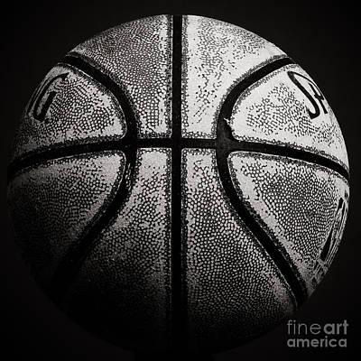Old Basketball - Black And White Art Print