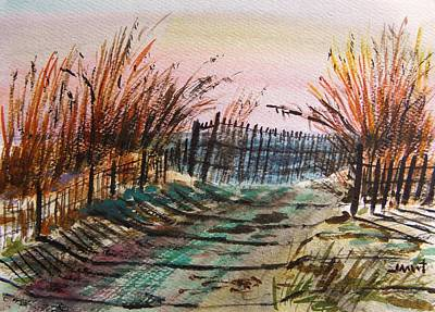Beach Landscape Drawing - Old Beach Road by John Williams