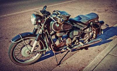 Photograph - Old Beamer Motorcycle by Linda Unger