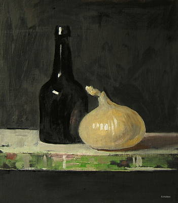 Painting - Old Beer Bottle And Onion by Robert Holden
