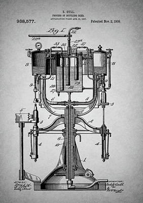 Mixed Media - Old Beer Bottling Patent by Dan Sproul
